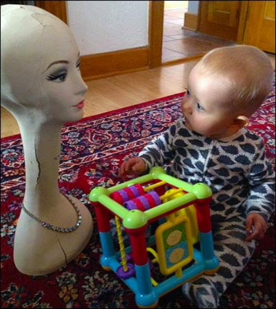 Ellis meeting mannequin head lady